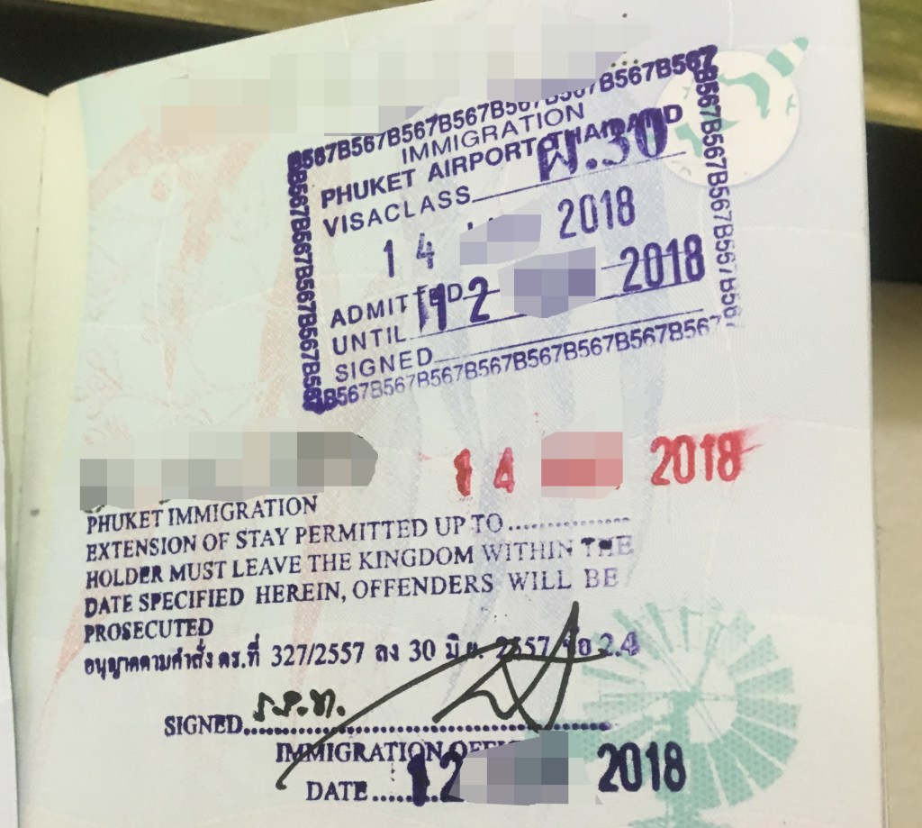 Phuket Immigration Patong Visa Extension Passport Stamp Example