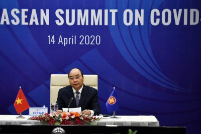 Vietnam's Prime Minister Nguyen Xuan Phuc addresses a special video conference with leaders of the Association of Southeast Asian Nations (ASEAN), on the coronavirus disease (COVID-19), in Hanoi 14 April, 2020 (Photo:Reuters/Manan Vatsyayana).