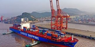 An aerial view of a vessel containing cargo from Australia arrived at the Port of Ningbo-Zhoushan in Ningbo city, east China's Zhejiang province, 29 October 2019 (Photo: Reuters/ Yao Feng).