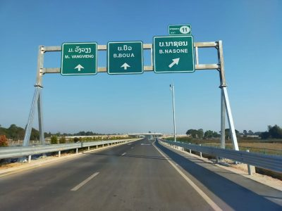 An image of the new Vientiane-Vangvieng Expressway, Laos, 29 December 2020 (Photo credit: article author).