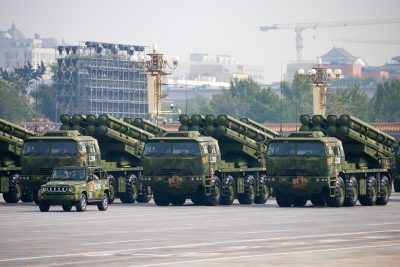 A Dongfeng-41 intercontinental strategic nuclear missiles group formation marches to celebrate the 70th anniversary of the founding of the People's Republic of China in Beijing, 1 October 2019 (Photo: Reuters).