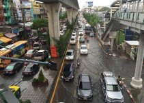 Bangkok flooding 8th June 2015. Businesses and schools affected.