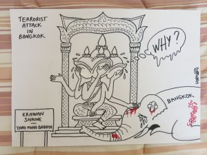 Signed Original Cartoon by Stephff complete with published article from The Nation. Bangkok bombing at the Erawan Shrine