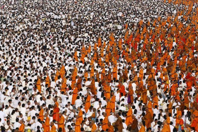 Thailand alms for 10000 Buddhist monks