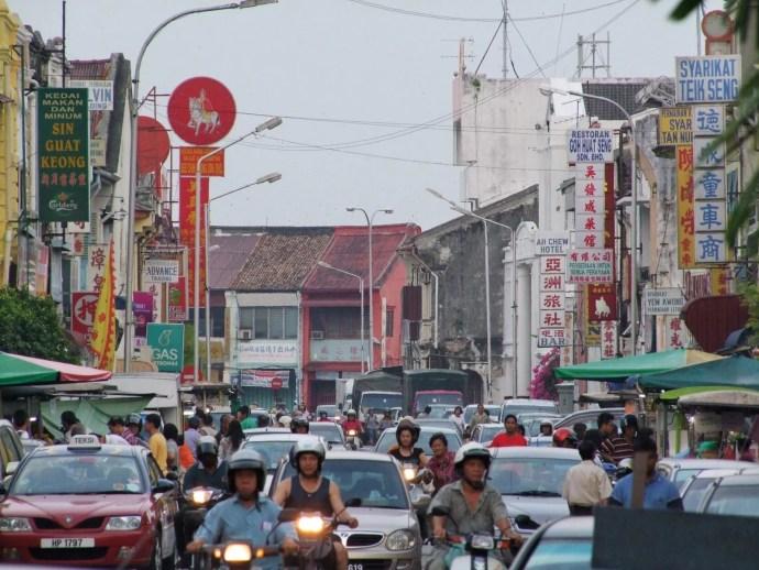 heure pointe chulia street penang malaisie