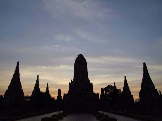 coucher soleil Wat Chai Watthanaram - Ayutthaya