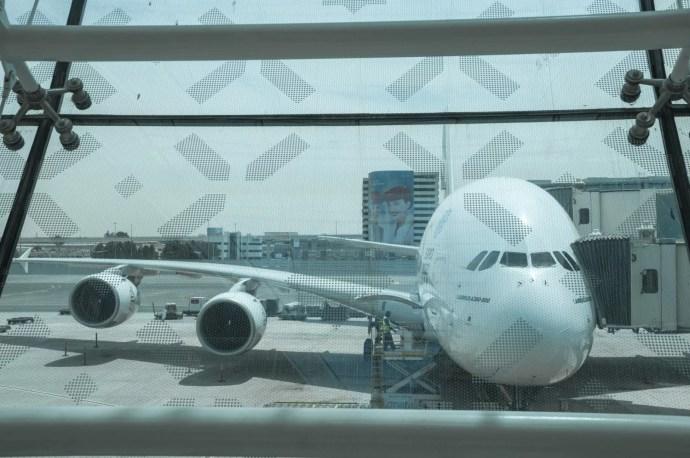 a380 d'emirates à l'aéroport de dubai