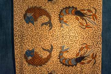 motifs poissons little indigo museum kayabuki-no-sato - japon