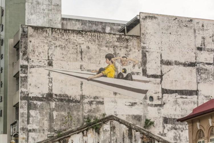 peinture murale paper plane - ipoh - malaisie