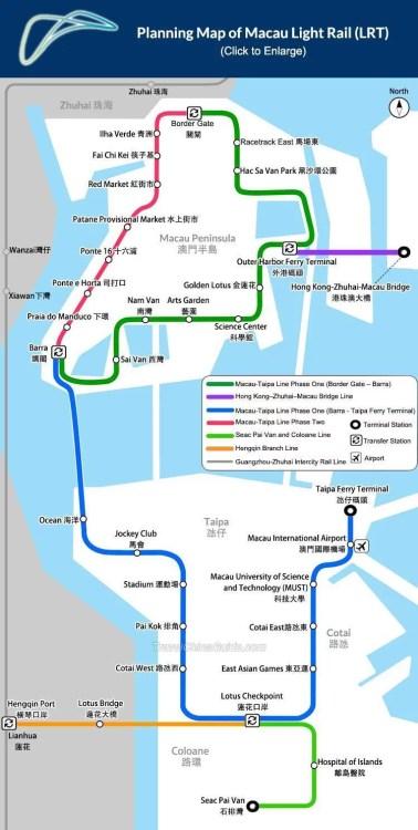 plan du métro à Macao