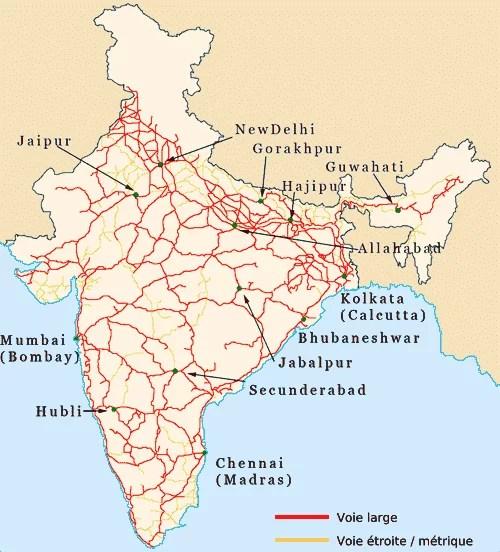 carte en français du réseau ferroviaire indien