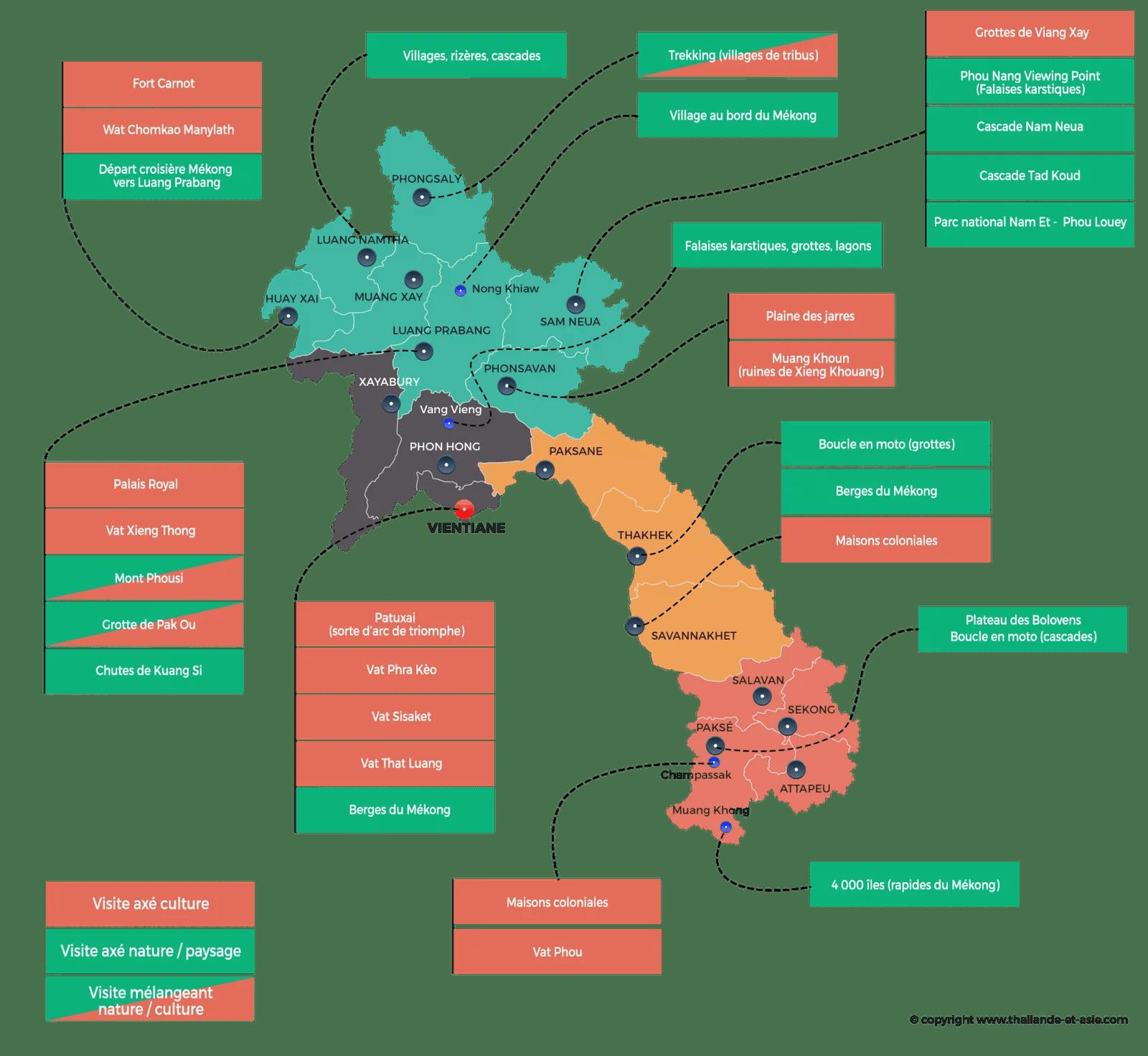 carte laos - points interets a voir faire