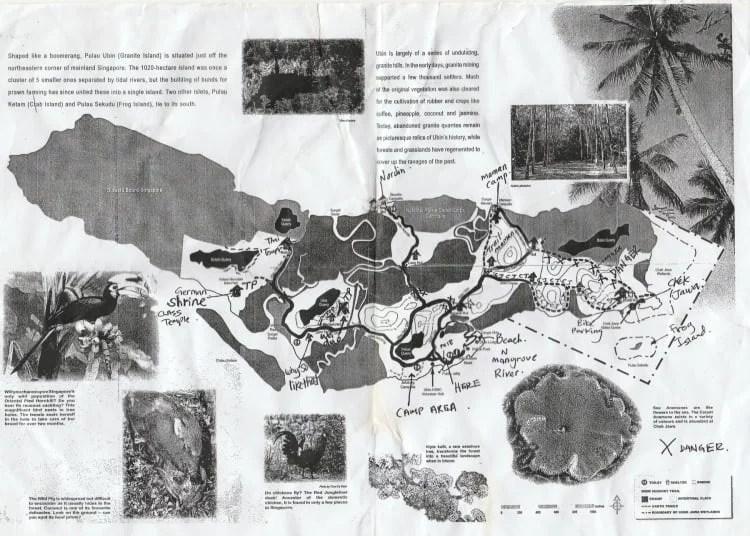 map palau ubin ile nord singapour