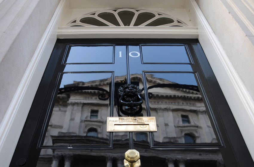 The famous black door of Number 10 Downing Street, London