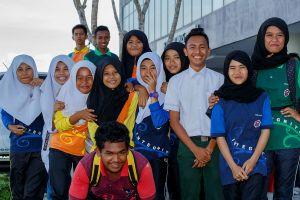 Malay Muslim school girls and boys