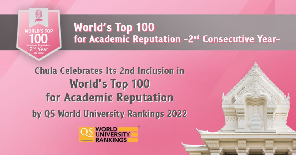 Chula Celebrates Its 2nd Inclusion in World's Top 100 for Academic Reputation by QS World University Rankings 2022
