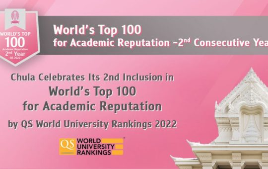 Chulalongkorn University Celebrates Its 2nd Inclusion in World's Top 100 for Academic Reputation by QS World University Rankings 2022