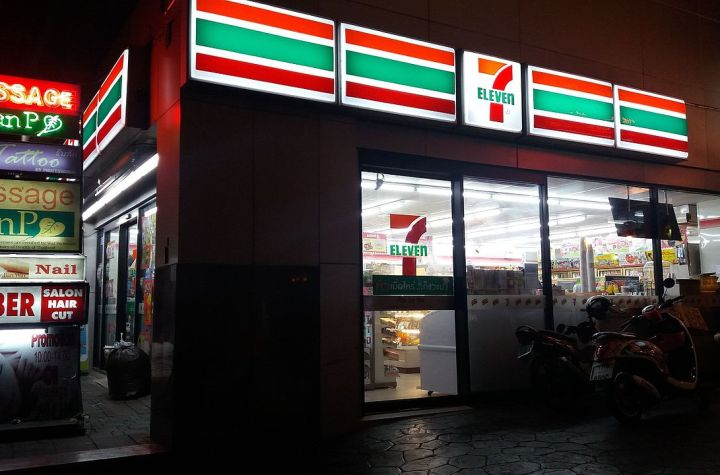 Night view of a 7-Eleven store in Sukhumvit, Bangkok