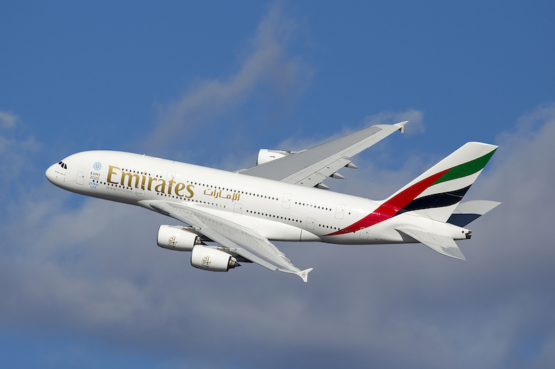 Airbus A380 Emirates taking-off from JFK, New York