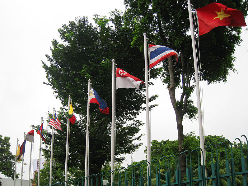 The flags of Association of Southeast Asia Nations members in ASEAN