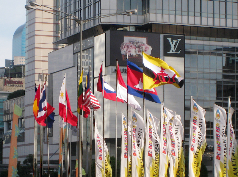The flags of ASEAN nations raised in MH Thamrin Avenue, Jakarta, during 18th ASEAN Summit, Jakarta, 8 May 2011