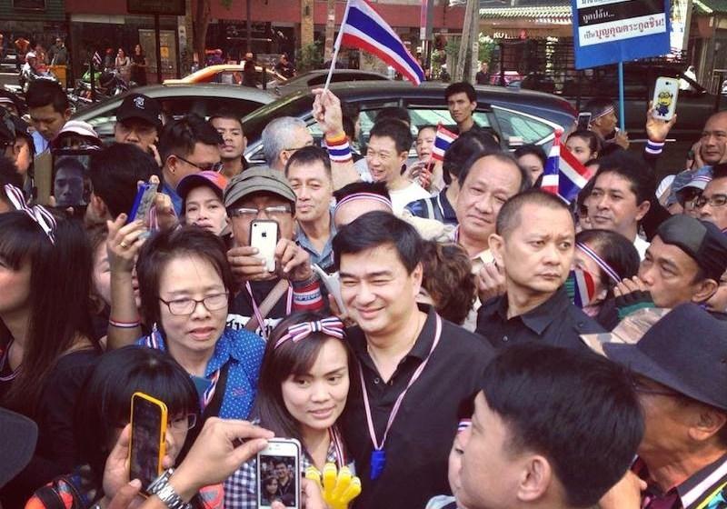 Former PM Abhisit Vejjajiva during the Bangkok protests