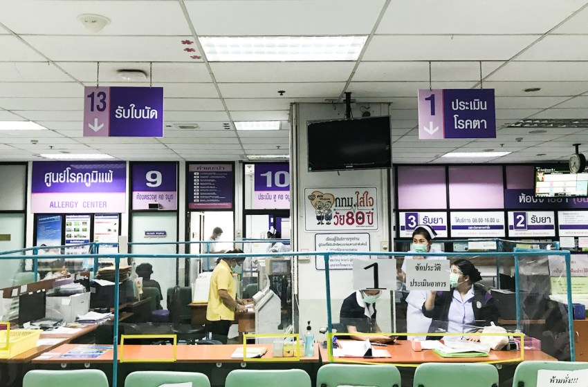 Acrylic shields installed at the hospital to prevent the spreading of COVID-19 coronavirus in Thailand