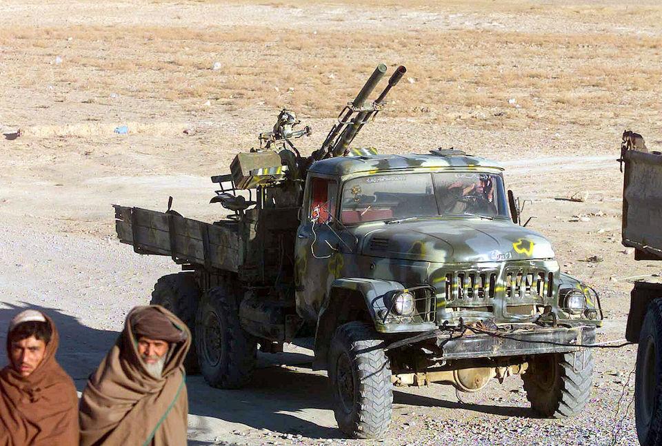 A Zil-131 cargo truck with a ZU-23-2 antiaircraft gun near the Kandahar International Airport in Afghanistan