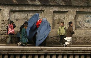 Women wearing burkas and their kids in Afghanistan