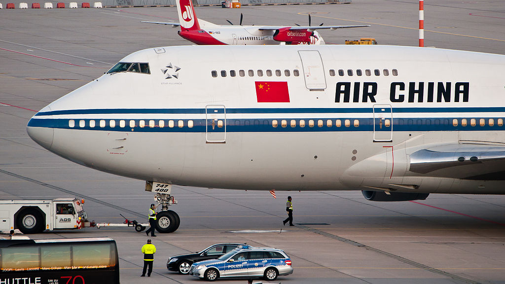 Air China Boeing 747 at Stuttgart Airport