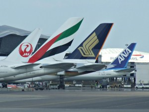 Aircraft at Terminal 3 of Heathrow airport in London, England