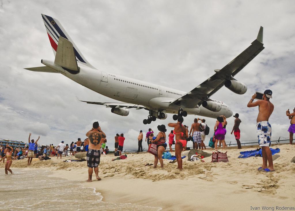 Aircraft landing at St. Maarten airport
