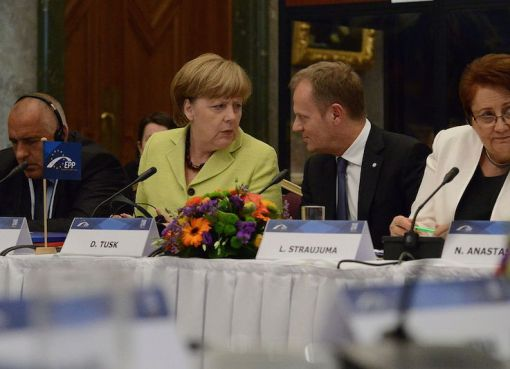 Angela Merkel and EU President Donald Tusk