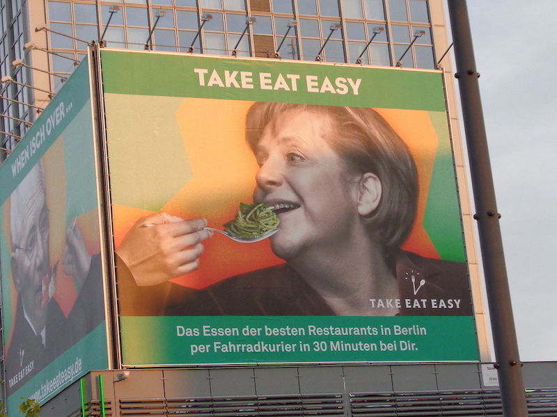 "Angela Dorothea Merkel ""TAKE EAT EASY"" Alexanderplatz, Berlin"