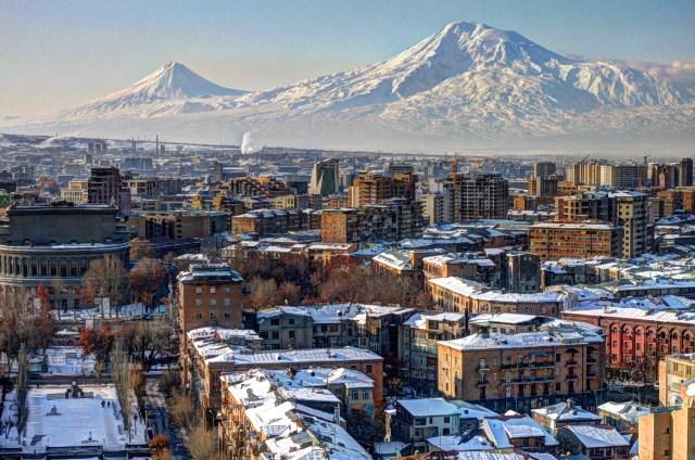 Winter view of Yerevan, Armenia