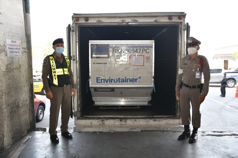 The vaccine being moved to a secure truck which will be led by the security team.