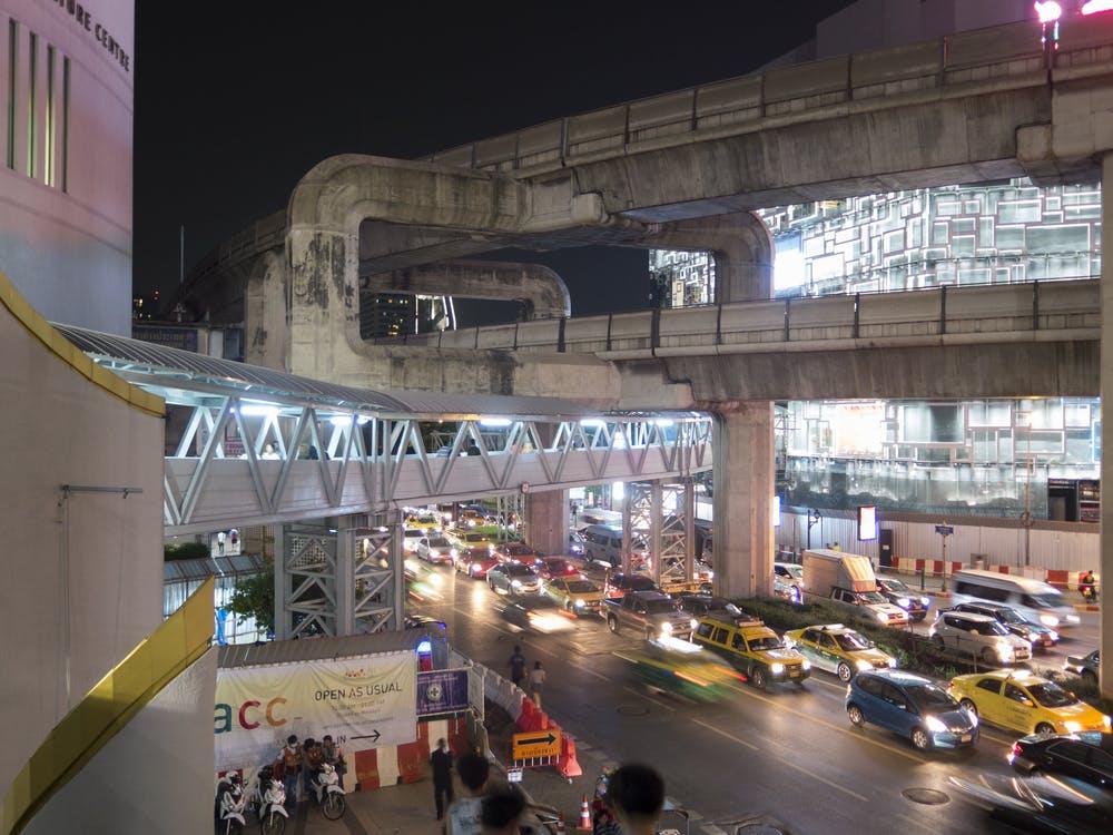 BTS Skytrain station at Night