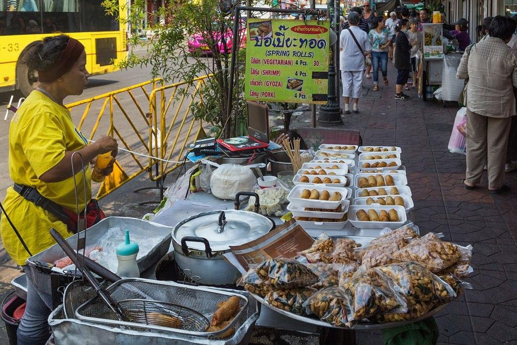 Street food at Chakrabongse Road. Phra Nakhon District, Bangkok