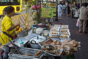 Street food at Chakrabongse Road. Phra Nakhon District, Bangkok
