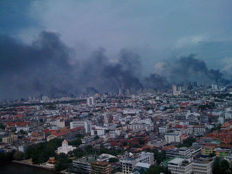 Smoke over Bangkok after multiple buildings were set afire in 2010