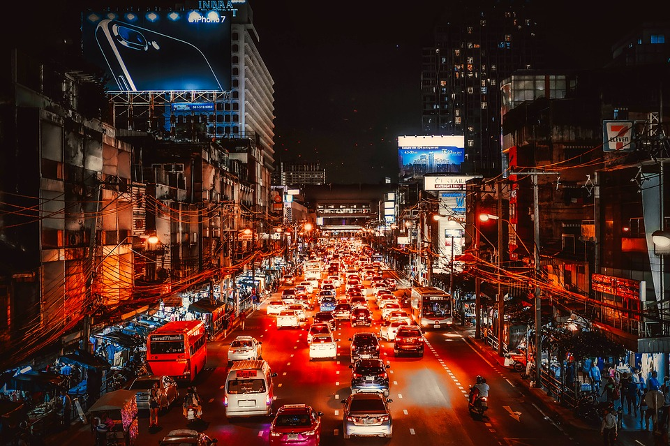 Bangkok road at night