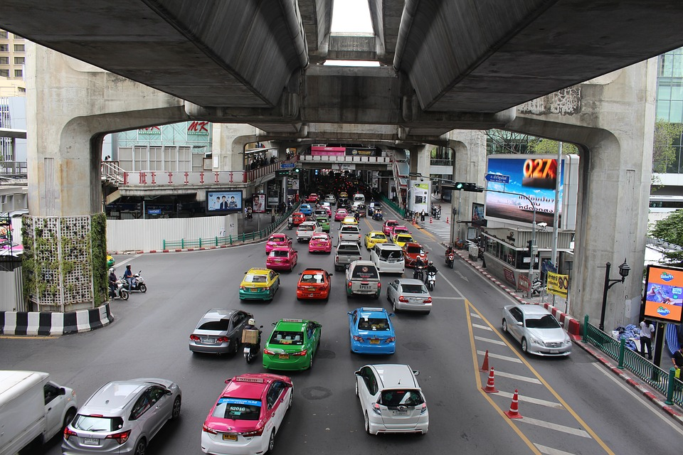 Traffic jam at Bangkok underpass