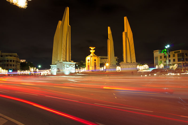 Democracy Monument in Bangkok at night