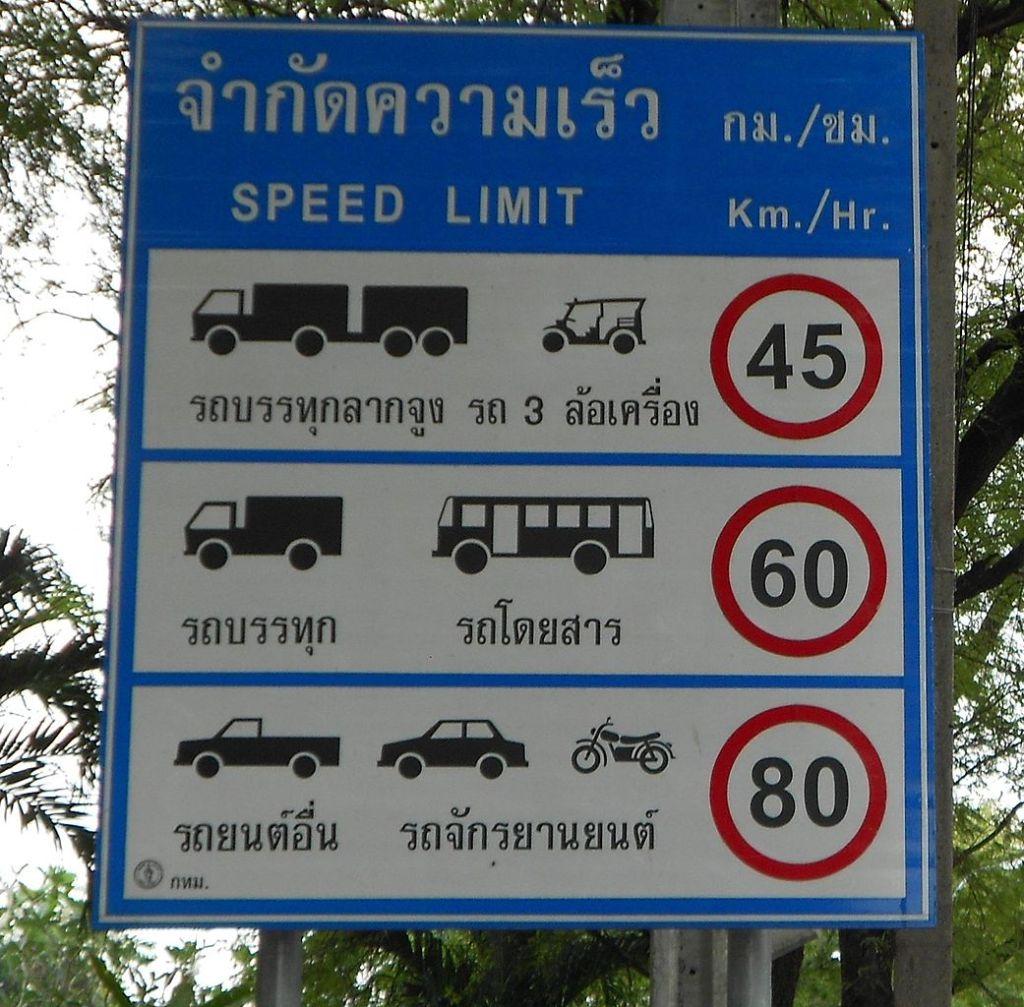 Speed limit traffic sign in Bangkok
