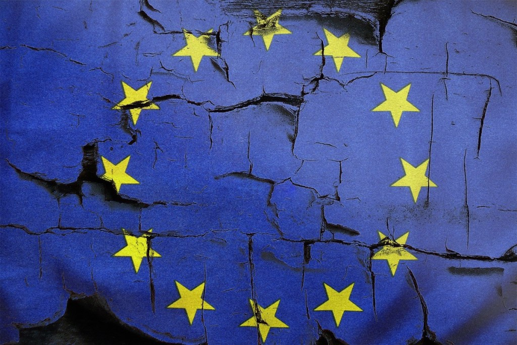 Broken European Union flag