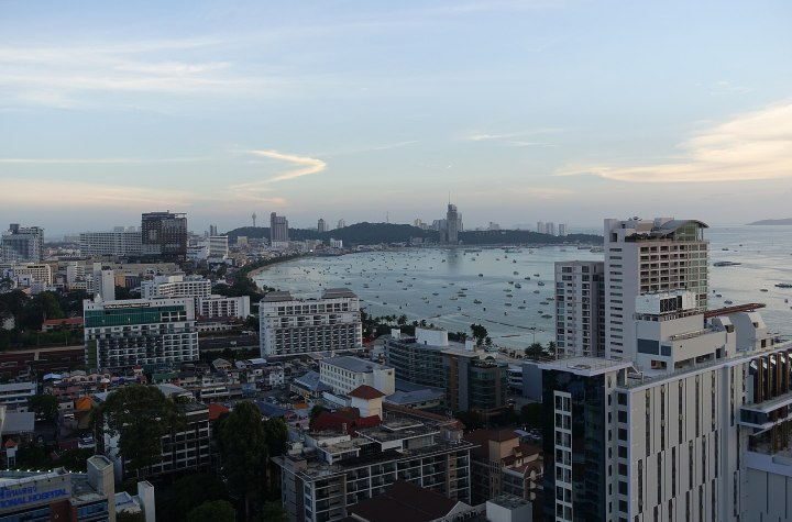 Central Pattaya and the beach at sunset