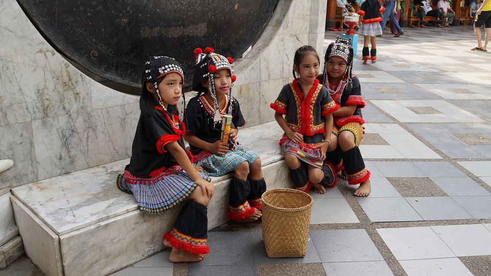 Ethnic Hmong girls in Chiang Mai, Thailand.