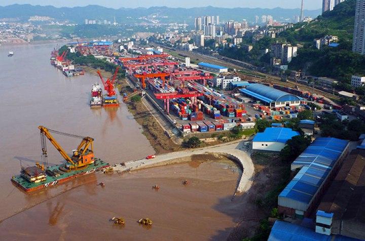 Qiulongpo Port Container Terminal in Chongqing, China