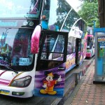 Colorful tour bus in Kanchanaburi