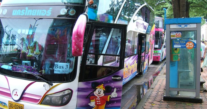 Two injured as tourist bus wanders off road in Chumphon